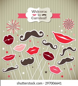 Collection of moustaches and lips. Vector illustration of trend symbols. Welcome to carnival card.