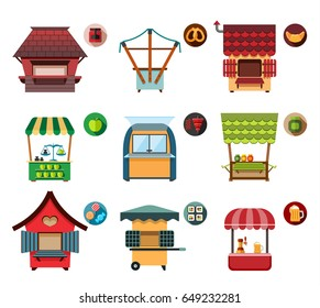 Collection of movable and fixed stalls for external usage. Set of stylized illustrations of promo stands, food stalls, kiosks, market stalls and various promotional and sales objects.