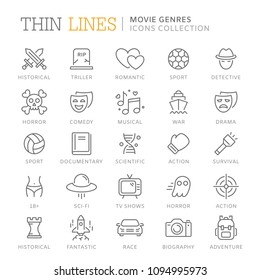 Collection of movie genres thin line icons