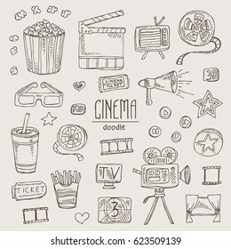 Collection with movie slap, popcorn, ticket, video camera, glasses. Hand drawn doodles illustration.
