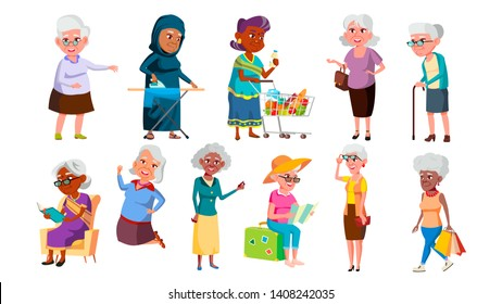 Collection Of Mulicultural Old Granny Set Vector. Happy Smiling Woman Granny Reading Book, Dancing And Jumping, Travelling And Walking, Ironing Clothes And Shopping. Flat Cartoon Illustration
