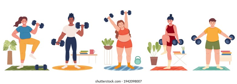 Collection of multi racial people exercising at home, home gym training concept. Flat design illustration of men and women lifting dumbbell weights indoors.
