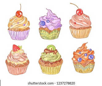 A collection of multi-colored cupcakes with cream and fruit. Vector set, hand drawing on a white background.