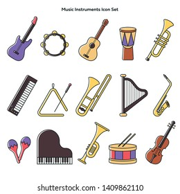 Collection of Music Instruments, line and color vector, illustration flat design. Different musical elements vectors.