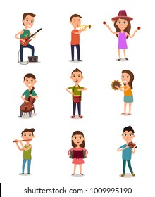 Collection of music kids playing musical instruments vector illustration