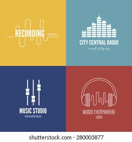 Collection of music logos made in vector. Recording studio labels hipster style. Pod cast and radio badges with sample text. Vintage t-shirt design elements with musical elements - guitar, horns.
