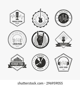 Collection of music logos made in vector. Recording studio labels hipster style. Podcast and radio badges with sample text. Vintage t-shirt design elements with musical elements - guitar, horns.