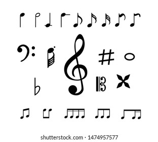 Collection of music note icon vector