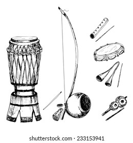 Collection of musical instruments of capoeira. Hand drawn sketch illustrations.
