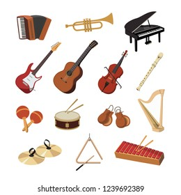Collection of musical instruments. Guitar, drum, piano, trumpet, violin and many more. Vector illustration