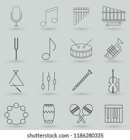Collection of musical instruments icons. Contains such Icons on websites with subjects related to music, dance, singing, concerts or playing musical instruments. Editable move. 32x32 Pixel Perfect.