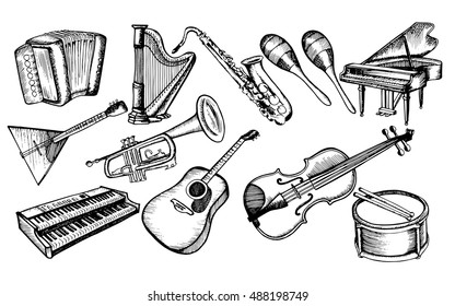 The collection of musical instruments. Stylized musical instruments. Set. Piano. Violin. Drum. Line art. Black and white drawing by hand. Doodle. Tattoo. Graphic arts.