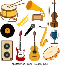 Collection of musical instruments. Vector musical icons. Color images of guitar, violin, drum and other tools.