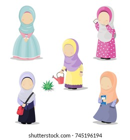 Collection of Muslim Girls Doing Activity. Muslim Girls Cartoon Character Without Eyes