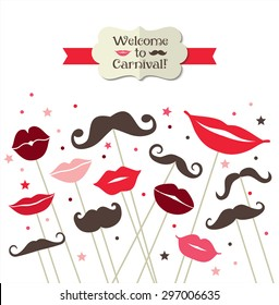 Collection of mustaches and lips. Vector illustration of trend symbols. Welcome to carnival card.