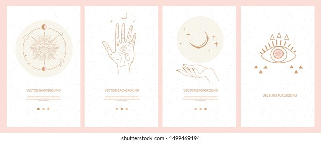 Collection of mystical and mysterious illustrations for Mobile App, Landing page, Web design in hand drawn style. Space and astrology concept. Minimalistic objects made in the style of one line.