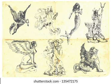 Collection of mythical characters known from the ancient Greek myths. /// Hand drawings into vector, easy editable.
