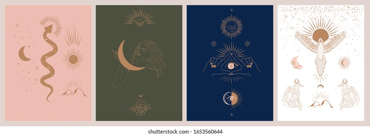 Collection of mythology and mystical illustrations in hand drawn style. fantasy animals, mythical creature, esoteric and boho objects, woman and moon, snake and evil eye. Vector Illustration