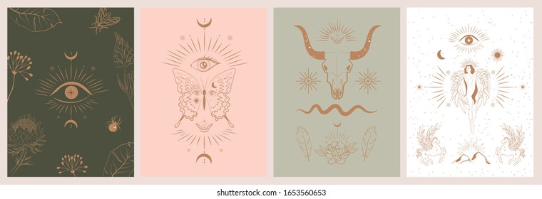 Collection of mythology and mystical poster illustrations in hand drawn style. fantasy animals, mythical creature, esoteric and boho objects, woman and moon, snake and evil eye. Vector Illustration
