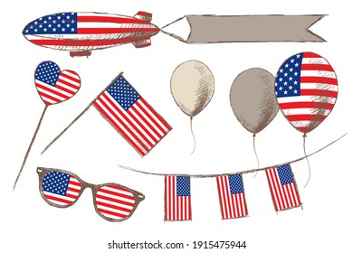 Collection of national symbols of America: sunglasses, flag, heart, airship with flag, and balloons, hand-drawn.