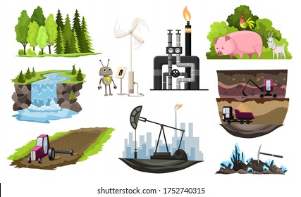 Collection of natural resources design. Vector