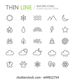 Collection of nature thin line icons