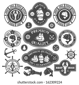 Collection of nautical labels, seafood illustrations and designed elements