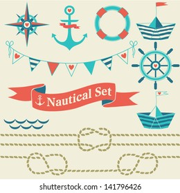 Collection of nautical symbols. Cartoon nautical icons. Elements for scrap-booking. Hand drawn vector illustration.