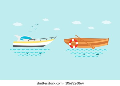 Collection of nautical vehicles: sail boat, ship, vessel, luxury yacht, speedboat, rowboat with wooden paddle and buoy. Vector set icons isolated on blue background.