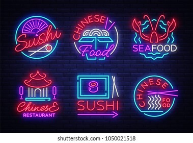 Collection neon signs Food. Set Logos in neon style Sushi, Seafood, Lobster, Chinese food, light emblem, night neon advertising for restaurant, snack bar, cafe, bar, dining room. Vector illustration