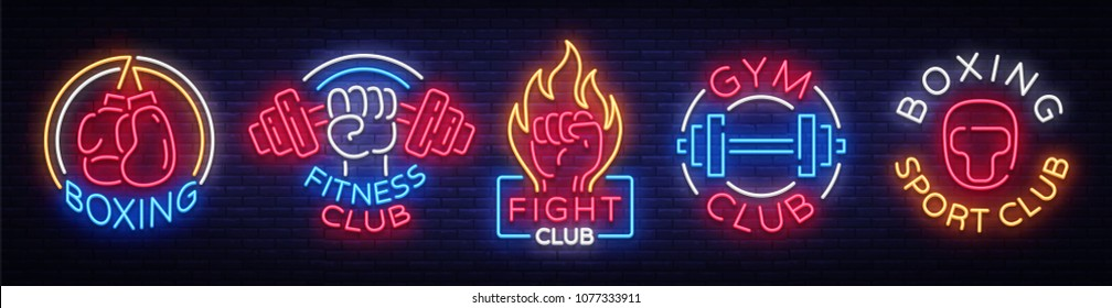 Collection neon signs for sports. Set neon logos emblems for Sports, design template symbols Boxing, Fitness Club, Fight Club, Gum club, Sport club. Neon signboard. Vector Illustration