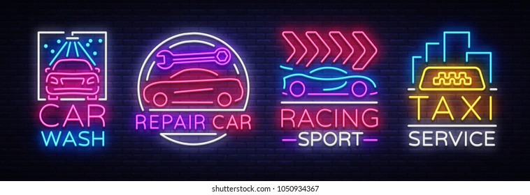 Collection neon signs Transport. Neon logo emblems, Taxi service, Car wash, auto service, car repair, street racing. Design template, light banner, nightly neon advertising. Vector Illustrations