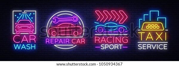 Collection Neon Signs Transport Neon Logo Stock Vector Royalty Free