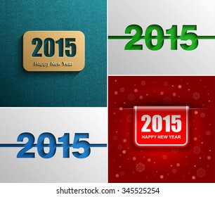 Collection New year 2015 modern vector background, Text design, Vector Eps 10