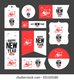 Collection of new year 2016 cards, notes, stickers, labels, tags with cute ornament illustrations. Template for scrapbooking, wrapping, notebooks, notebook, diary, decals, school accessories