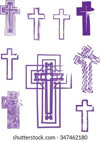 Collection of nine abstract artistic vector purple crosses for Lent or Easter. Separated for easy use.
