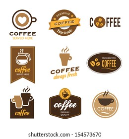 Collection of nine coffee labels - icons
