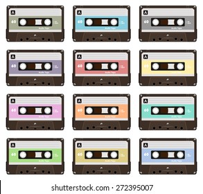 Collection of nine colorful plastic audio cassette tape. Set of different pastel color music tapes. old technology, realistic retro design, vector art image illustration, isolated on white background