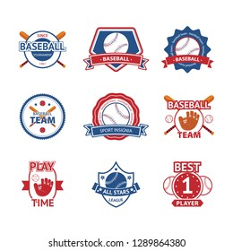 Collection of nine colorful Vector Baseball logo and insignias, presented with a set of baseball equipment illustrations.