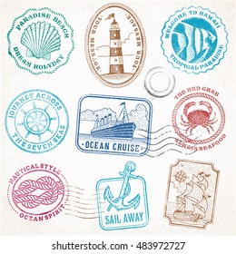 collection of nine grunge vintage vector stamps Illustrations, with sea and sea journey theme.