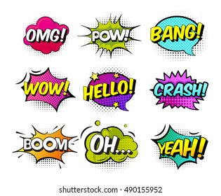 Collection of nine multicolored comic sound effects in pop art vector style. Bubble speech with word and cartoon halftone expression illustration.