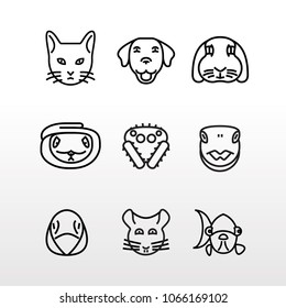 A collection of nine pet faces, most popular ones.