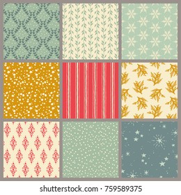 collection of nine seamless hand drawn retro christmas / winter / holiday patterns