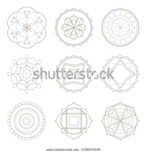 Collection Nine Simple Designs Mandala Useful Stock Vector