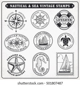 Collection of nine  vintage vector greyscale stamps Illustrations, with sea and sea journey theme.