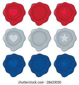 Collection of nine wax seals in red, silver, and blue; each color has one blank seal for your own symbol/design. File contains unexpanded blends.