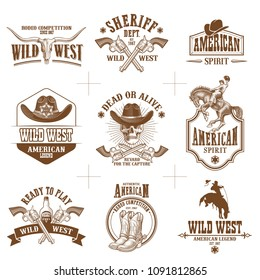 Collection of nine wild west logos vector illustrations