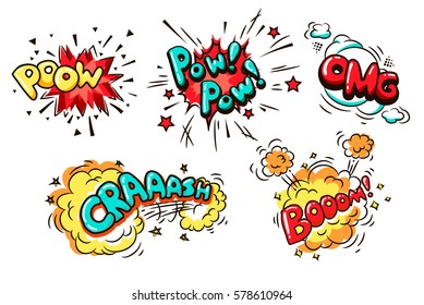 Collection of Nine Wording Sound Effects for Comic Speech Bubble. Boom, poow, pow pow crash, omg - cartoon lettering.
