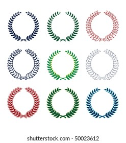 Collection of nine wreaths. They consist of various plants. All wreaths of different colors.