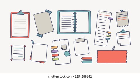 Collection of notebooks and paper attached with pushpins and adhesive tape for making writing notes isolated on white background. Set of decorative design elements. Colorful vector illustration.